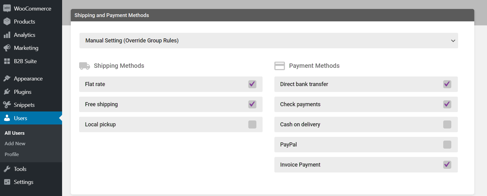 User Payment Methods