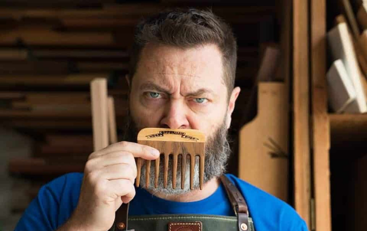 Nick Offerman with moustache comb