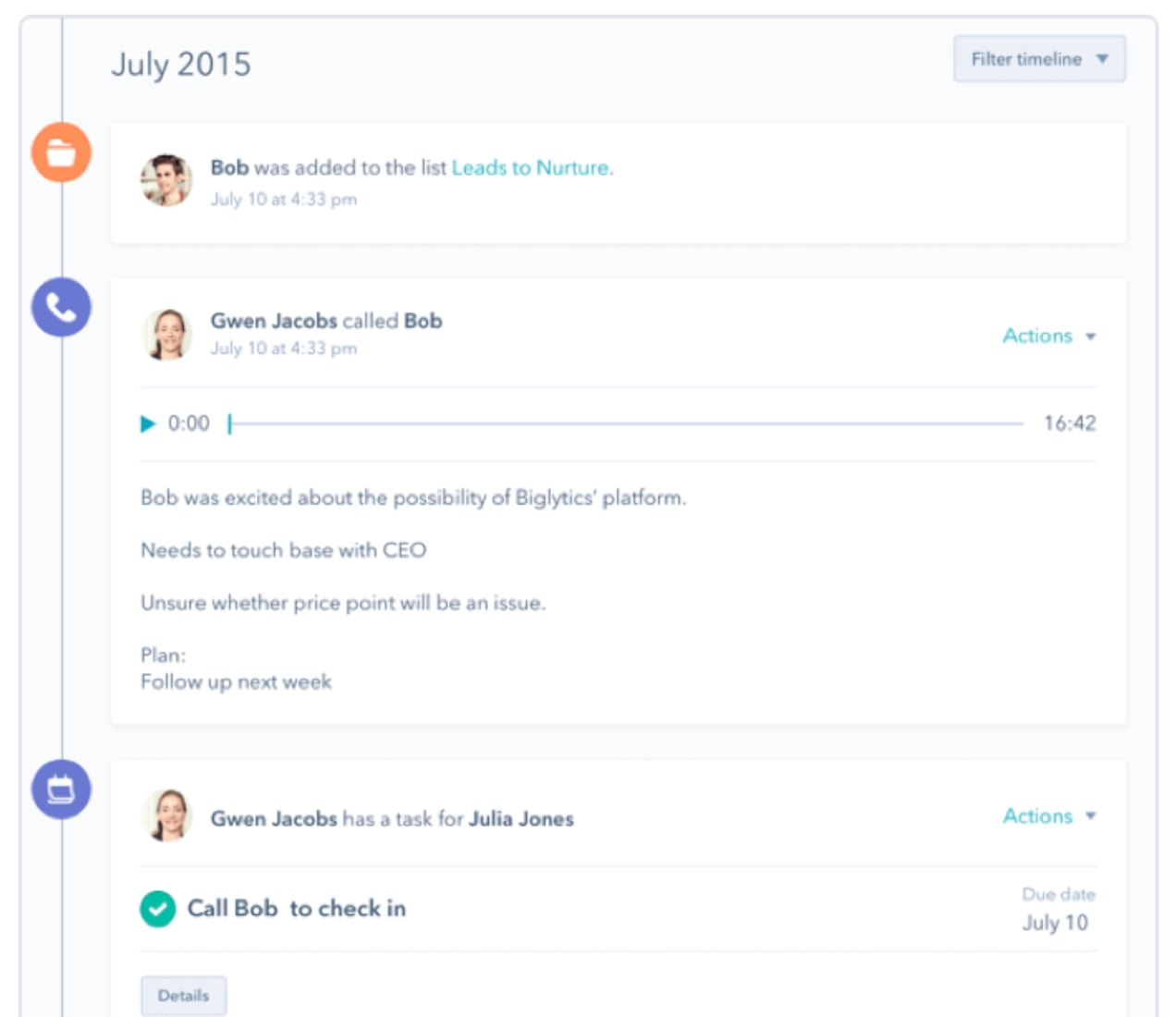 customer management screen in hubspot