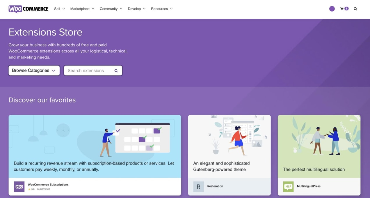 WooCommerce extension store