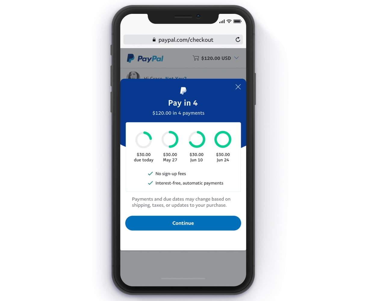PayPal Pay in 4 on a mobile screen