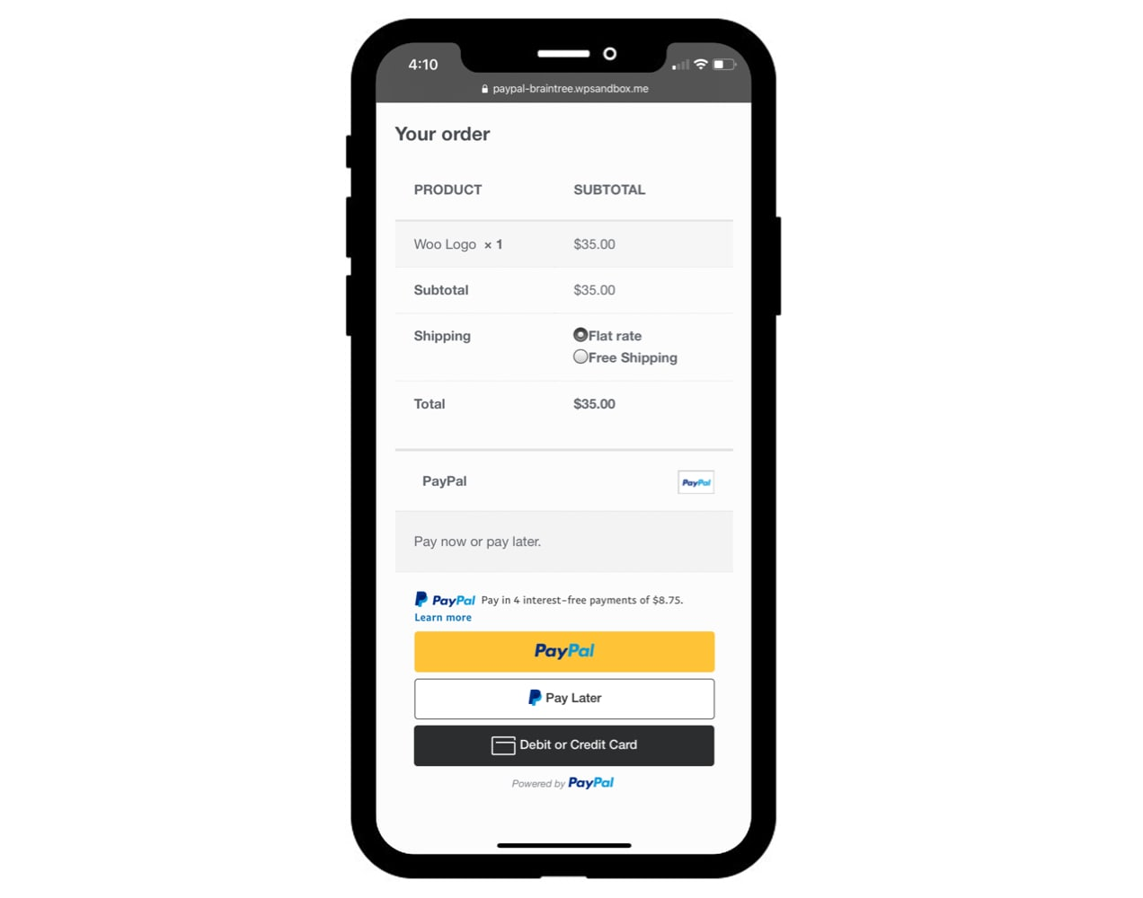 PayPal one-click checkout on a mobile screen