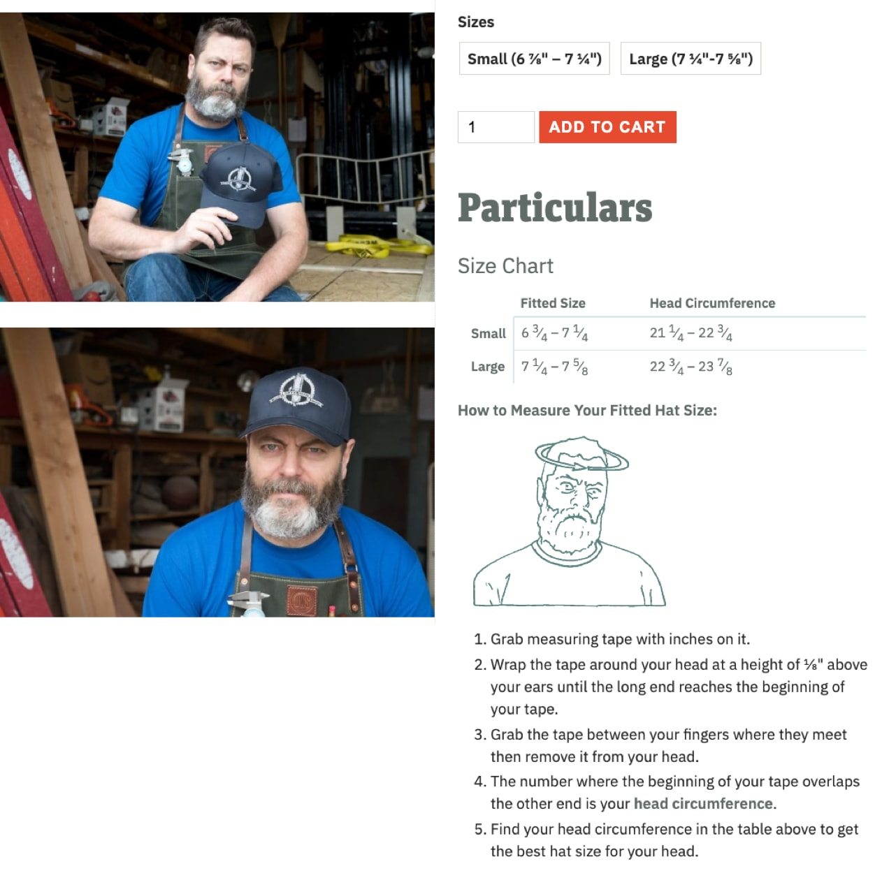 custom details like size charts added to a product page on Offerman Woodshop's site