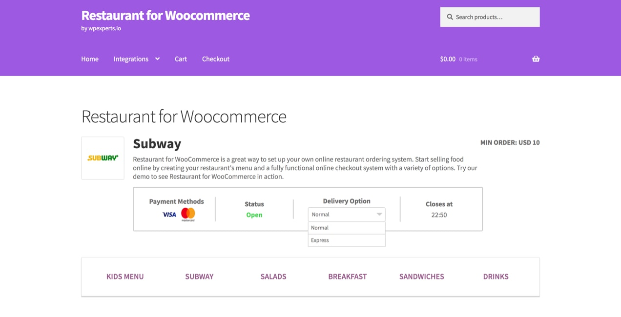 restaurant for WooCommerce delivery options