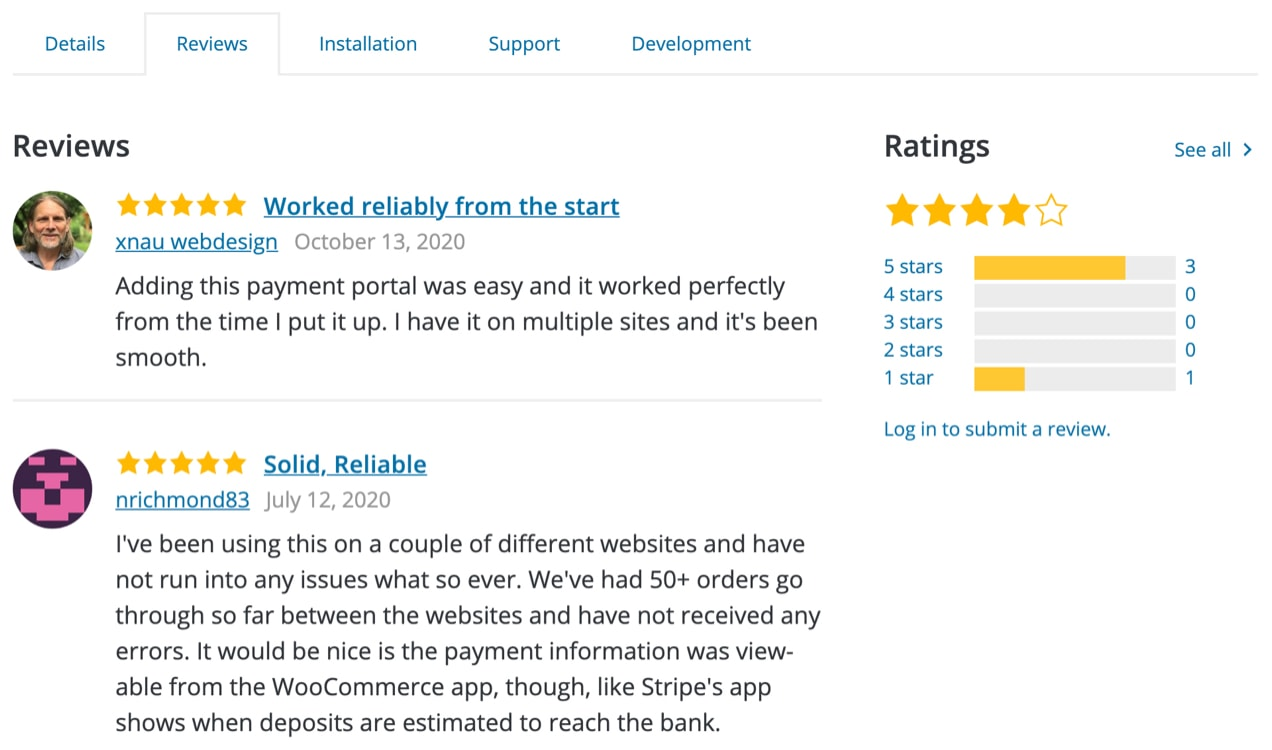 reviews for WooCommerce Payments