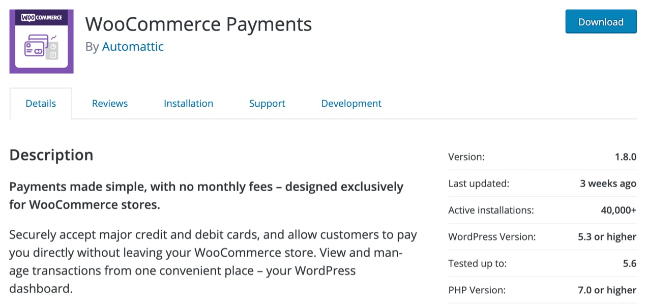 WooCommerce Payments listing