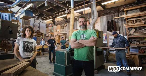 Nick Offerman and the woodshop team