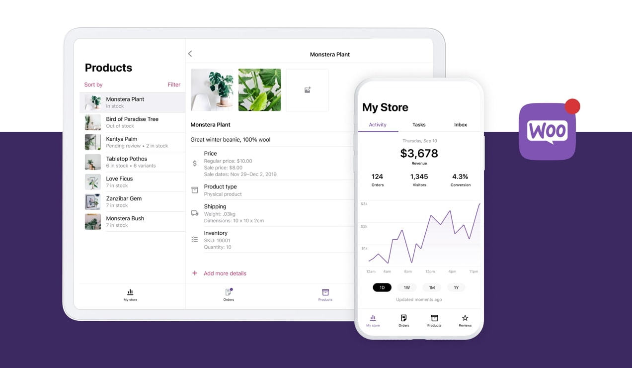 WooCommerce app in action, showing analytics and products