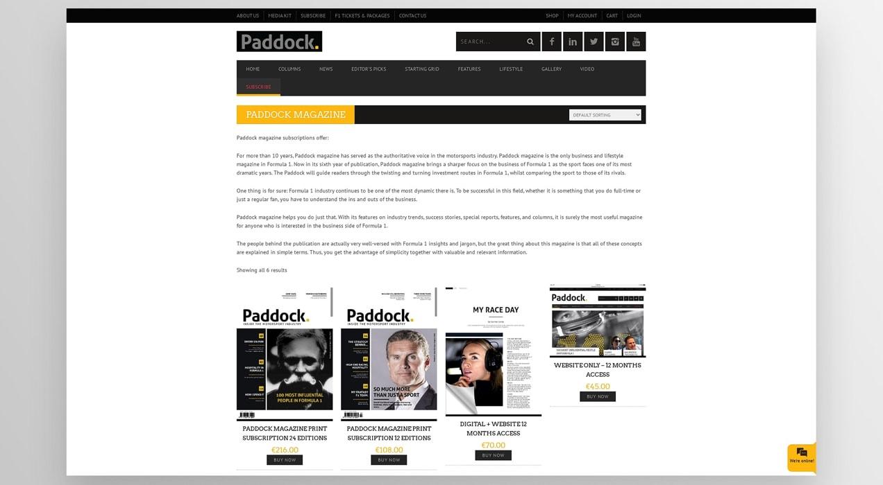 Paddock Magazine membership options