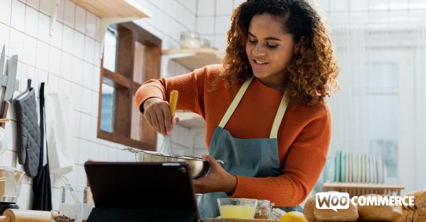 woman cooking with a video from her food membership program