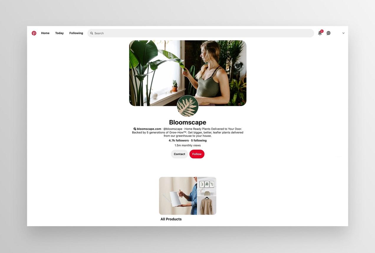 Bloomscape Pinterest shop tab