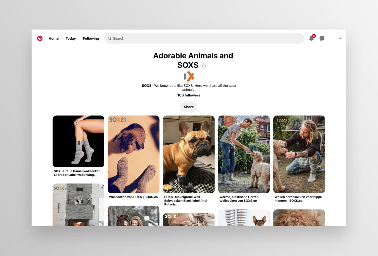 Soxs Pinterest board featuring animals
