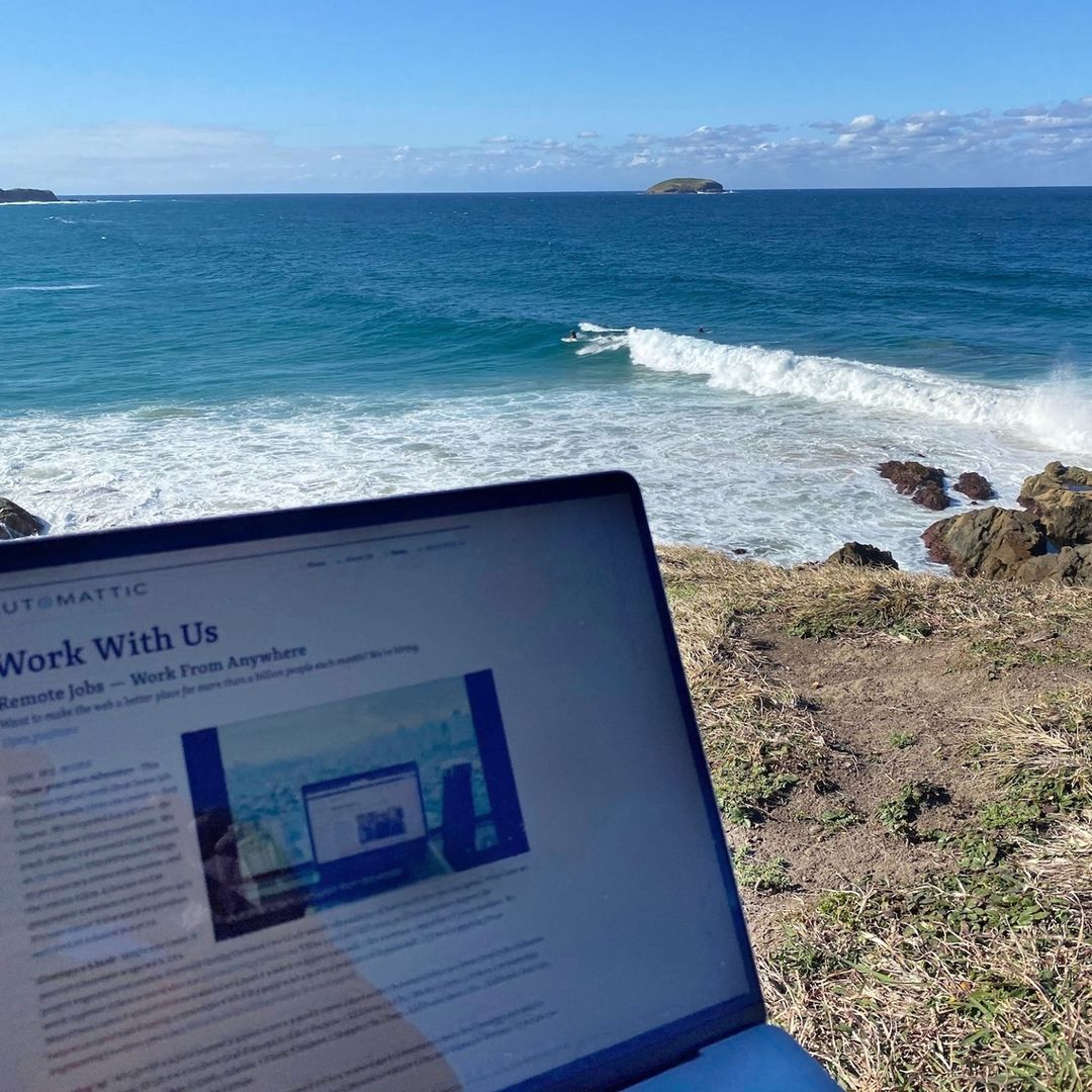 Laptop with a beautiful beach in the background