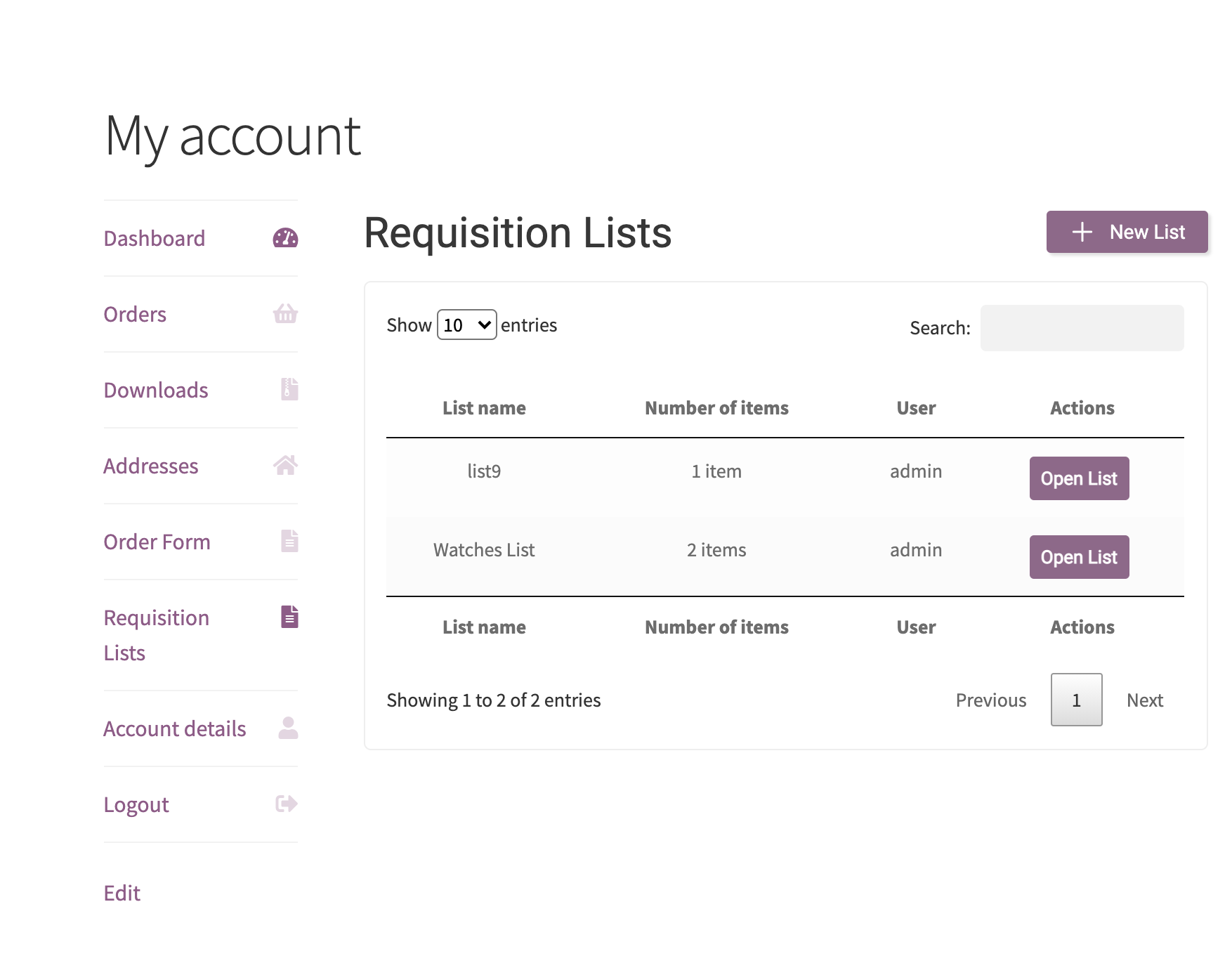 Requisition lists in my account