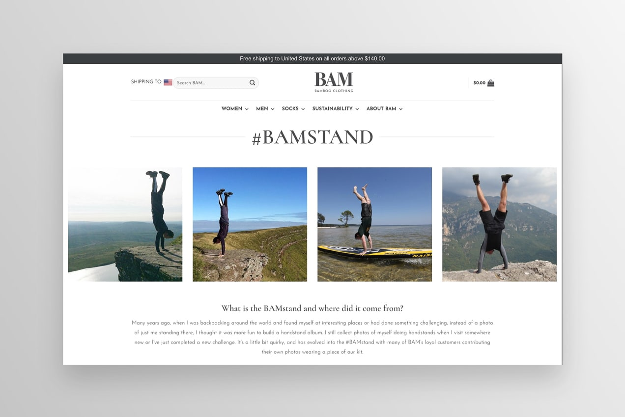 #BAMSTAND section on the website showing photos of people doing handstands