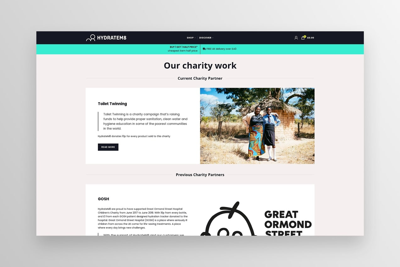 charity work page highlighting various nonprofits