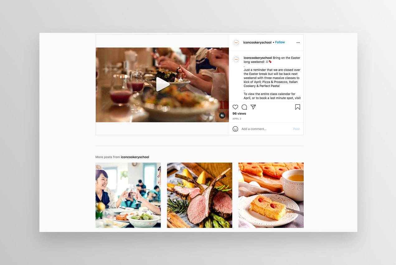 Instagram page of Icon Cookery School showing an engaging video