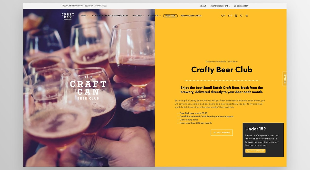 landing page about the Crafty Beer Club