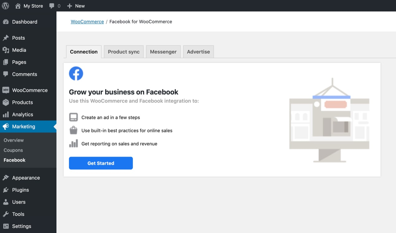 setting up the Facebook for WooCommerce extension