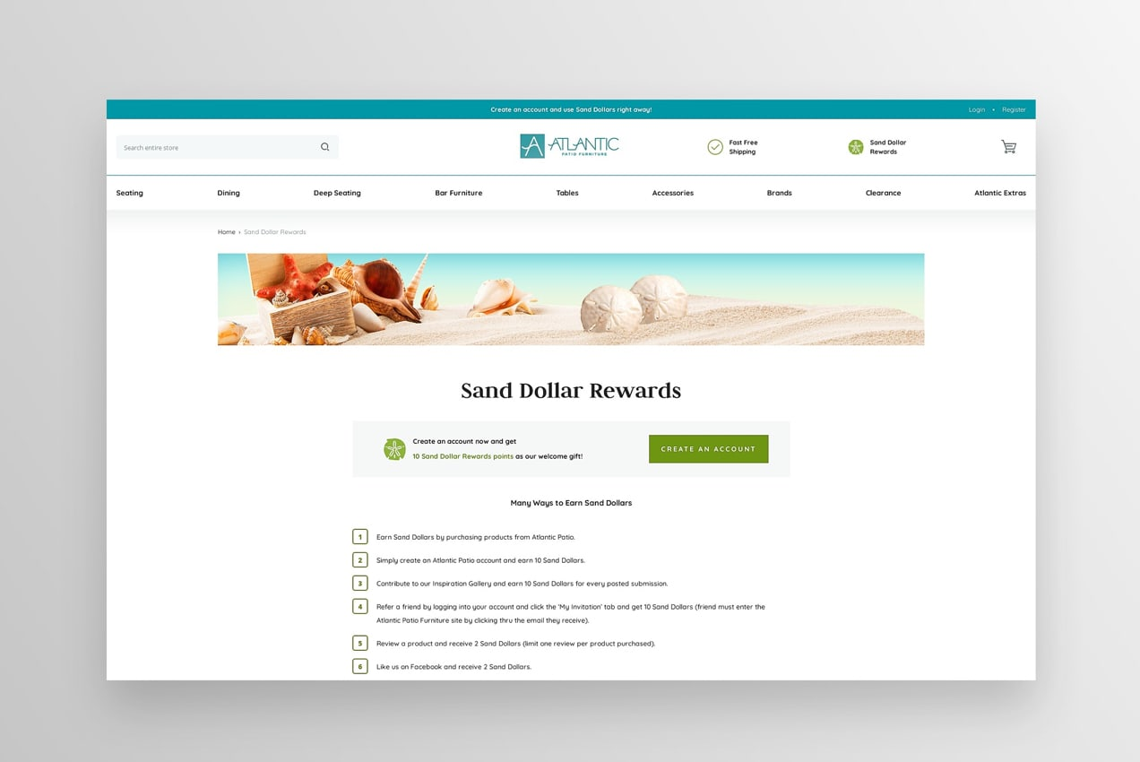 Sand Dollar Rewards club landing page