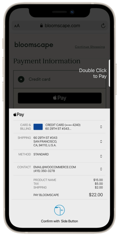 Apple Pay checkout displayed on an iPhone.