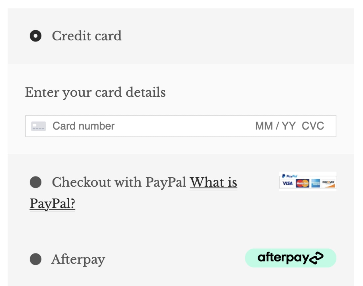 An example from Dryft of a concise payment options form with an accordion feature.