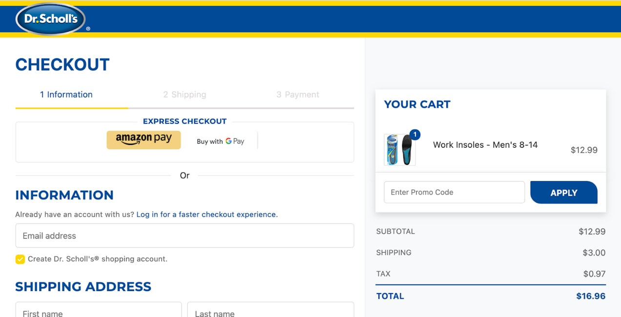 Example of a numbered multi-step checkout, free from distracting menus, search bars, or other links from Dr. Scholl's.