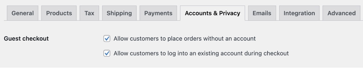 guest checkout settings in WooCommerce