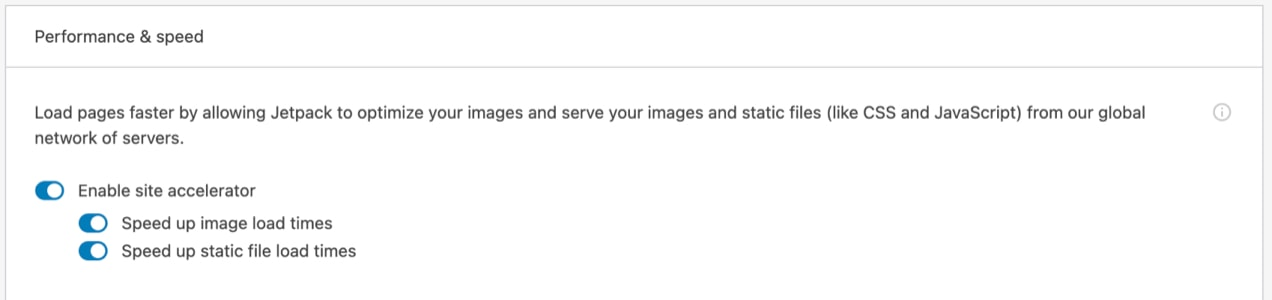 settings page, where you can turn on Jetpack CDN with one click