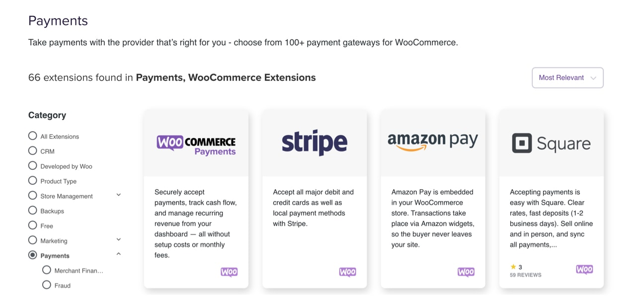 WooCommerce extension marketplace listing payment gateway options