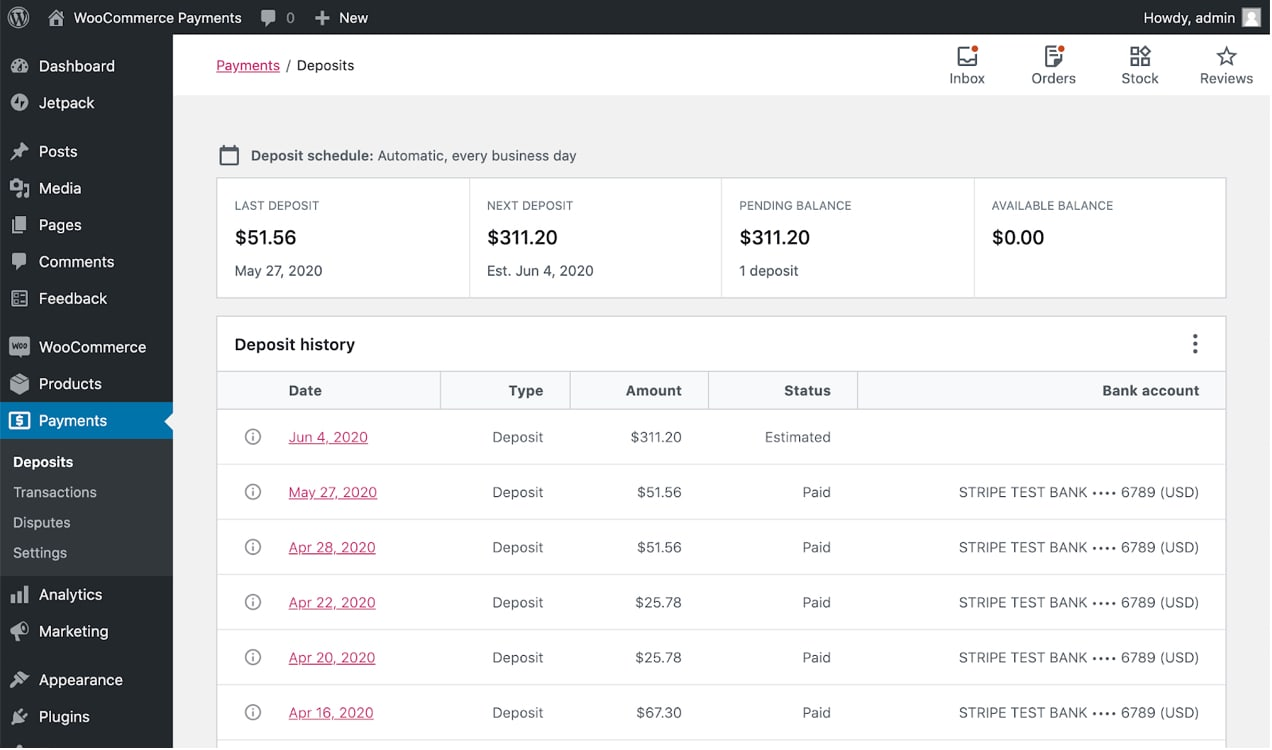payments dashboard with WooCommerce payments