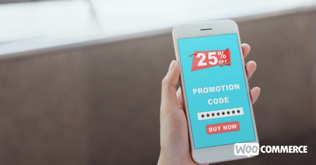 coupon code in red and blue on a phone