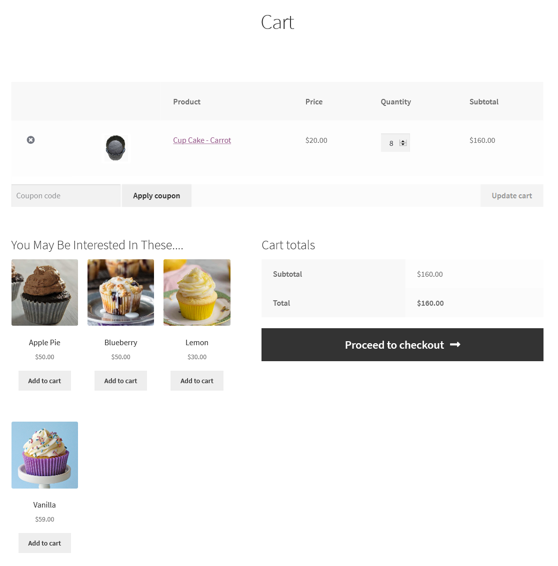 cross-sells frontend view
