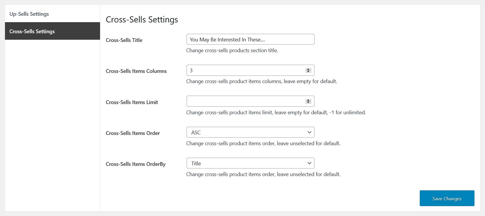 cross-sells general settings