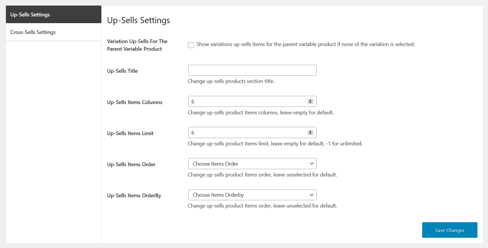up-sells-general-settings