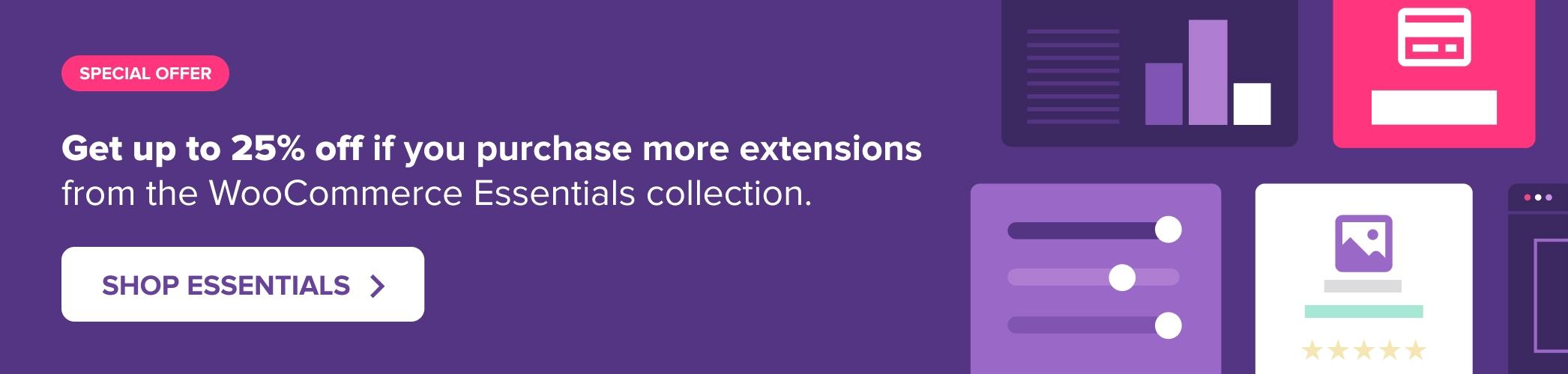 WooCommerce Essentials discount offer banner