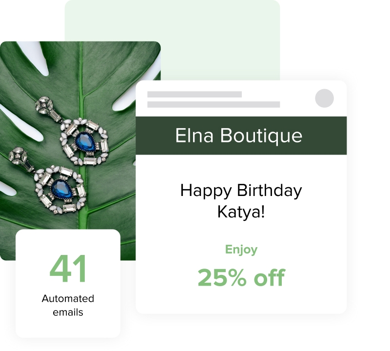 Image depicting a birthday discount notification next to an image of earrings.