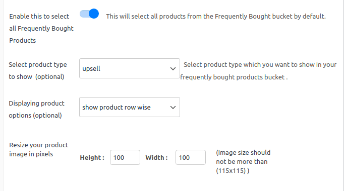 frequently bought together settings