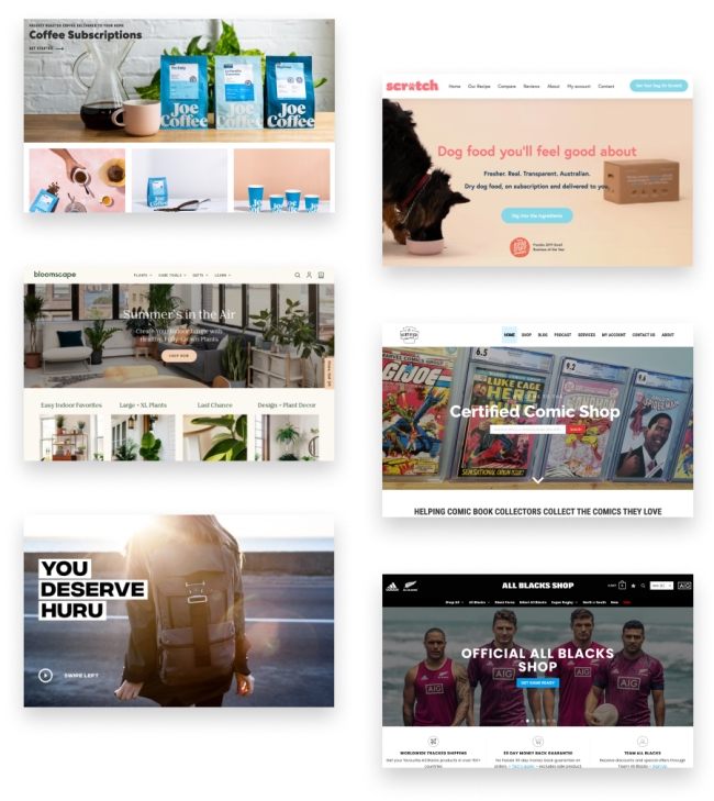 Collage of six ecommerce websites built on WooCommerce.