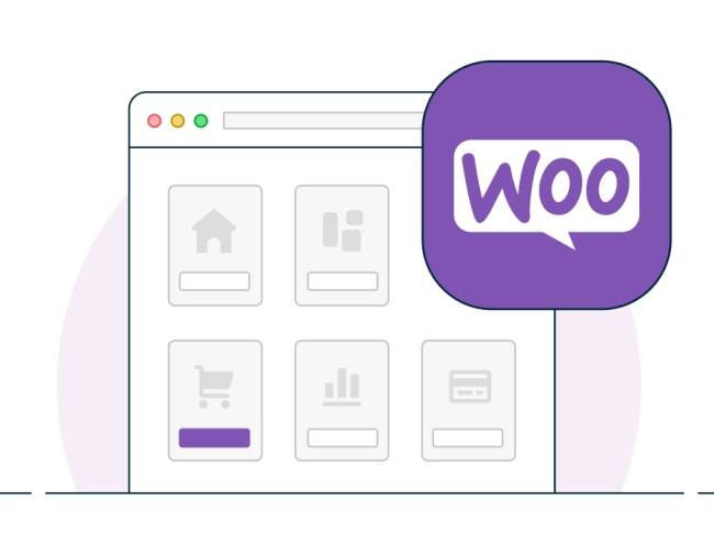 Illustration of website mockup with WooCommerce logo and add-to-cart functionality.