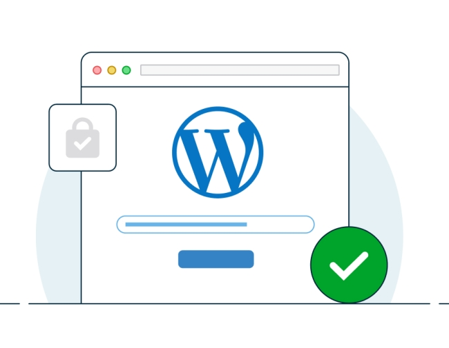 Illustration of a website mockup with the WordPress logo and check mark indicating it has been installed.