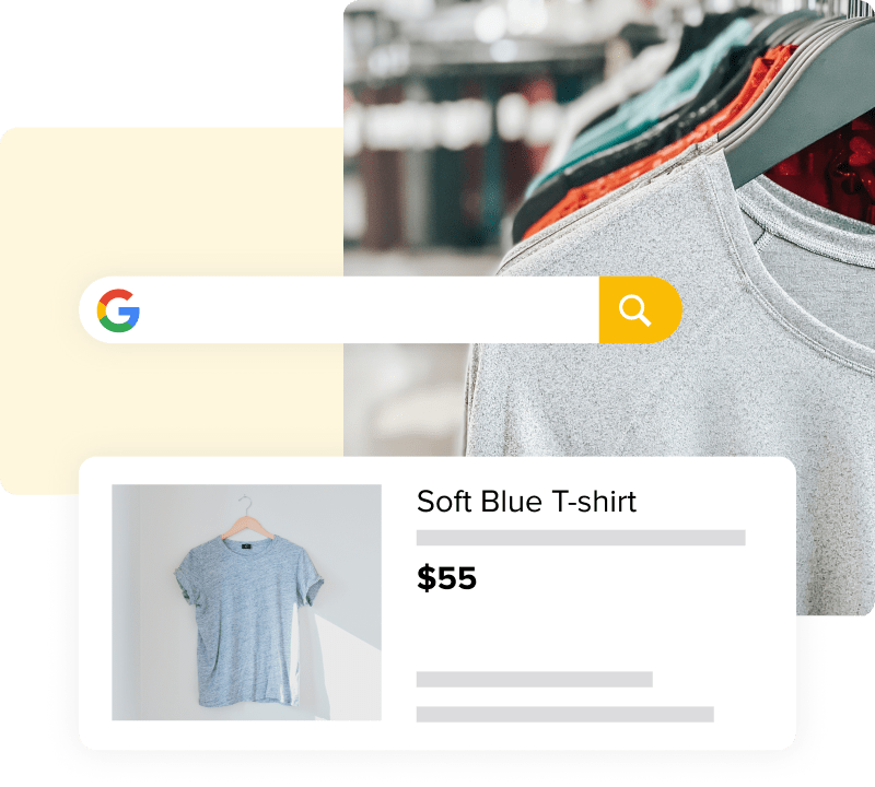 Image of a Google search field and Google Ad next to a photo of t-shirts on a rack.