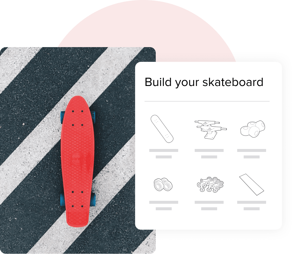 An image showcasing a skateboard kit builder next to a photograph of a finished skateboard.