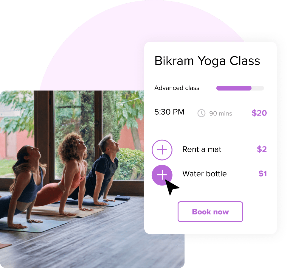 An interface showing a Bikram yoga class being booked alongside a photo of people doing yoga.