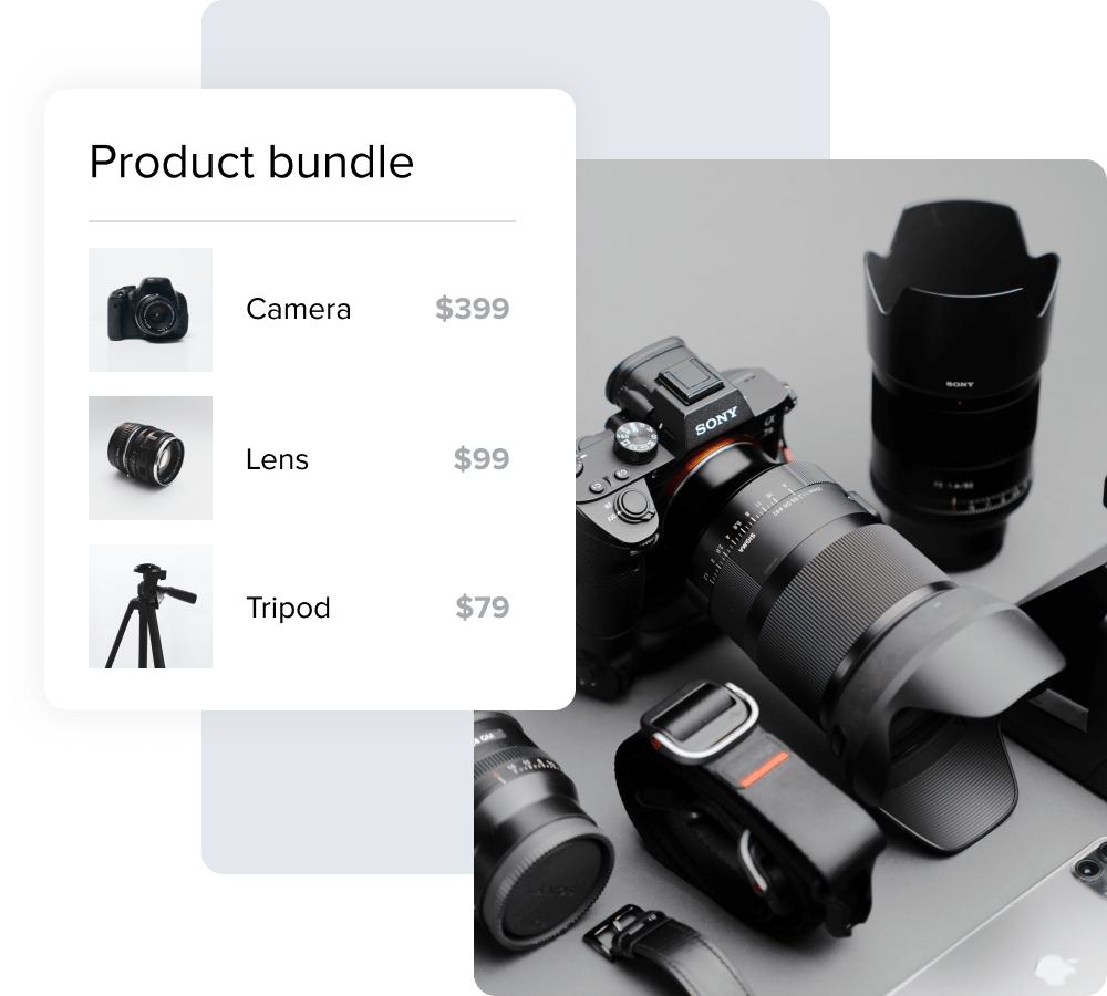 An image displaying a product bundle featuring a camera, lens, and tripod next to a photo of these items.