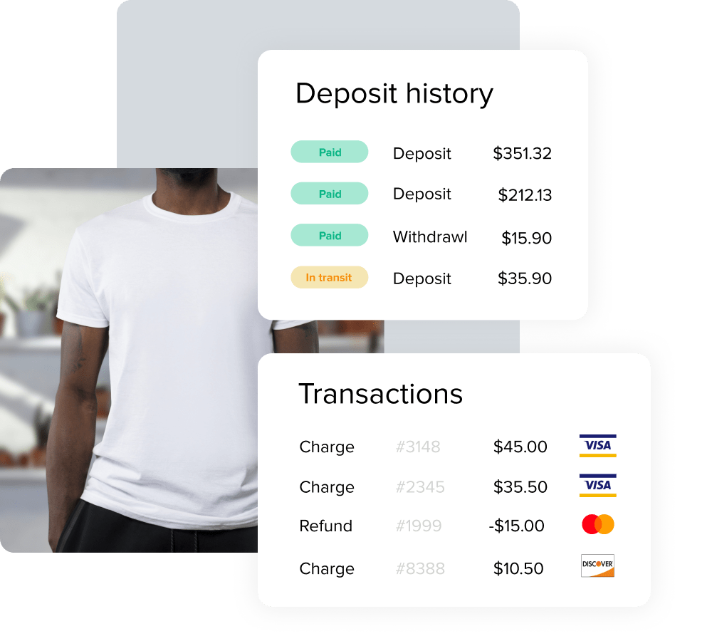 Image displaying transaction and deposit information over a product photo of a t-shirt.