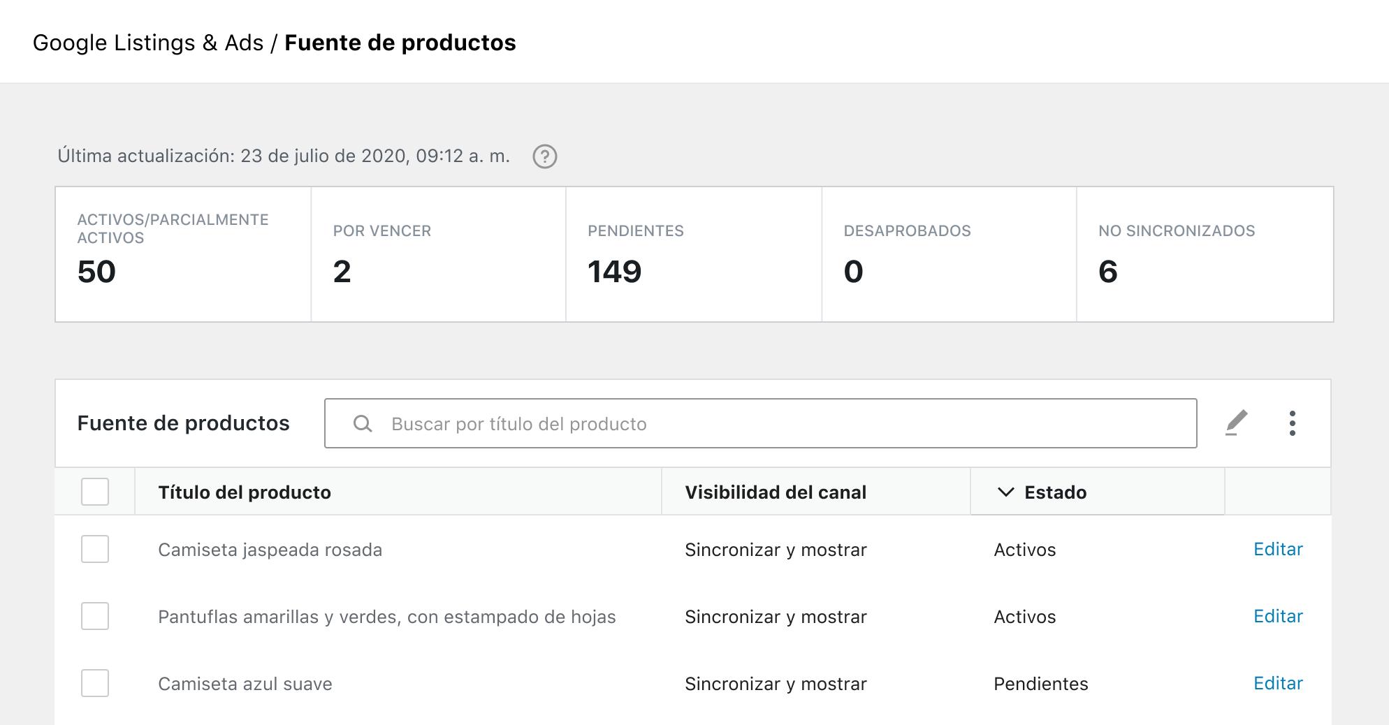 Mostrar el feed de productos en la integración de Google Listings y Ads