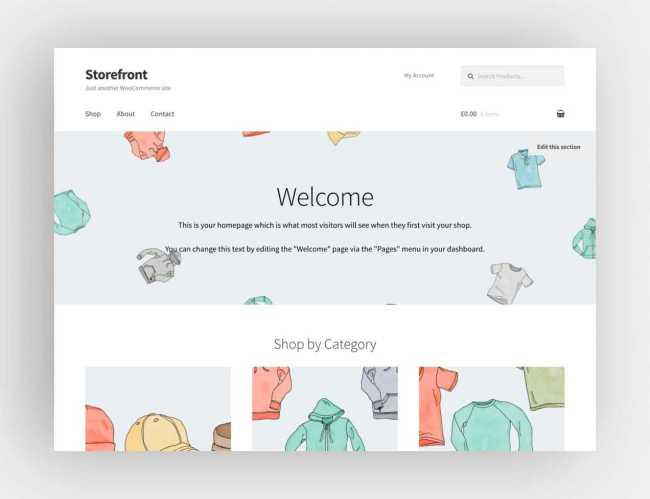 The Storefront theme from WooCommerce