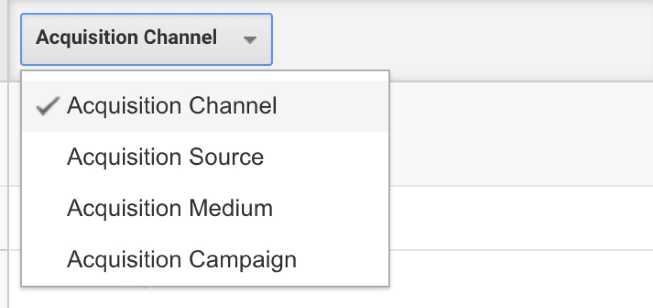 dropdown to select acquisition channel, source, medium, or campaign