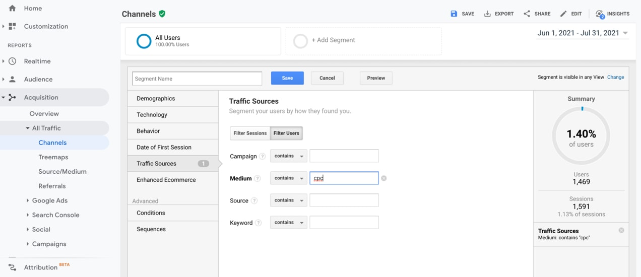 screen showing traffic sources in Google Analytics
